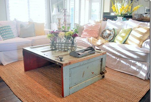 coffee table made from old door