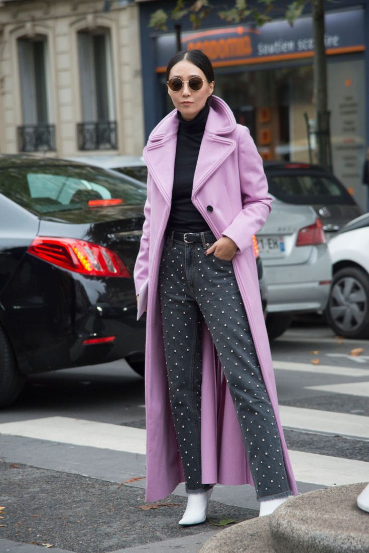 473773dc2c4 12 Pretty Pastel Outfits You Can Wear Now to Look Chic  Wear a Pink Coat  With All-Black Outfits