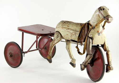 late Victorian, white painted wooden horse with wheels and articulated legs