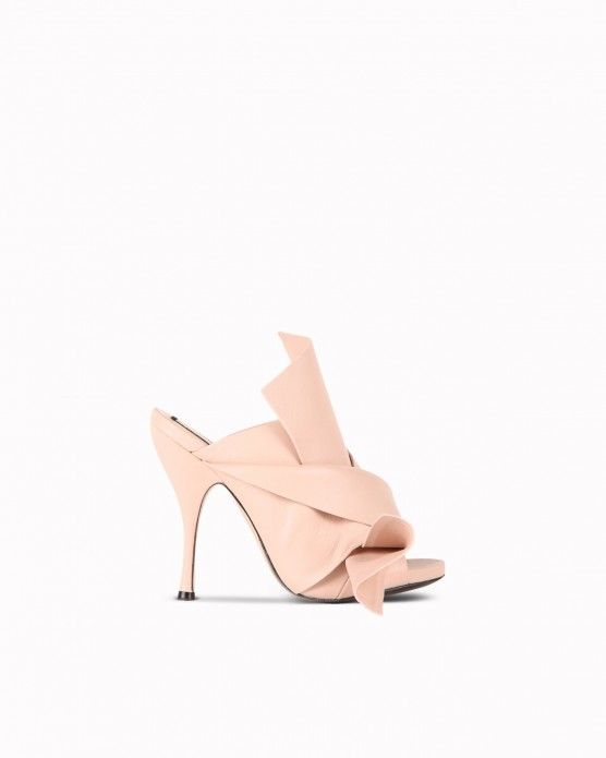 Pink leather bow sandals N°21