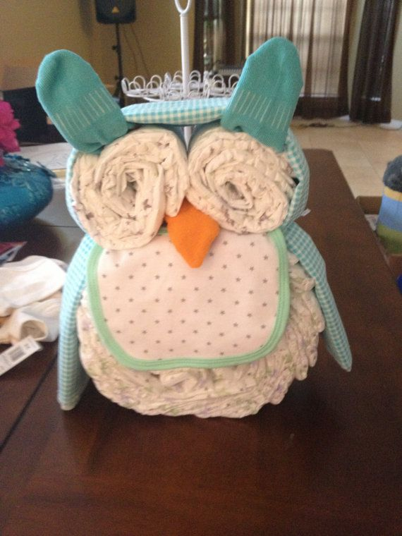 Owl Diaper Cake by FleurDeLoveDesigns on Etsy, $40.00