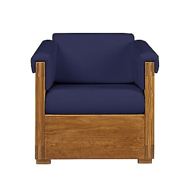 This End Up: Classic Chair With Cushions Covered In Our Icon Blue Fabric  And Sporting Our Classic Honey Pine Finish! Furniture For Your Life!