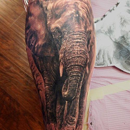 Realistic elephant tattoo black grey tattoo from orange for Tattoo artists orange county