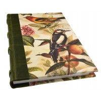 Handgemaakt notitieboek met rug van leer - Birds & Fruits. Mijn favorieten geheimen boekje voor al mijn droom gedachtes