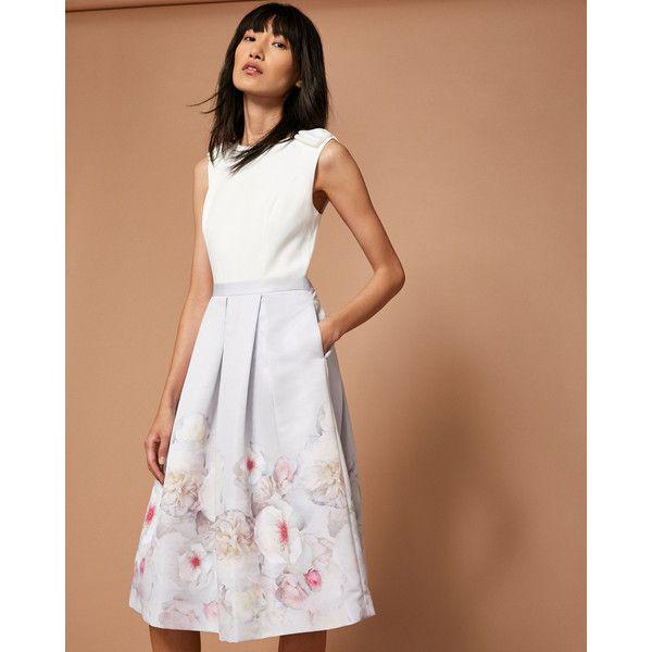 Chelsea Grey pleated midi dress ($300) ❤ liked on Polyvore featuring dresses, light grey, grey midi dress, print midi dress, pleated midi dress, light grey dress and pleated dresses