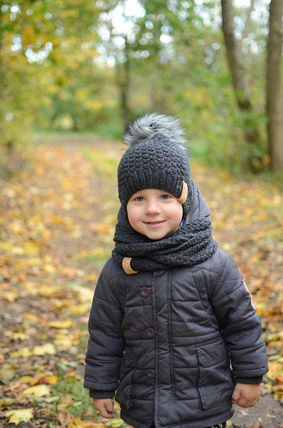 Boys Kids Children Autumn Warm Knitted Winter Scarf Snood 1-3 Years Grey Navy