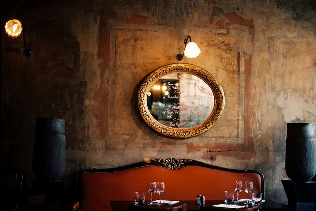rustic european wall with layered old paint: French Bistros, Home Wine Cellar, Mirror Mirror, Romantic Dinners, Gold Mirror, Rustic Wall, Interiors Design, Texture Wall, Wall Texture