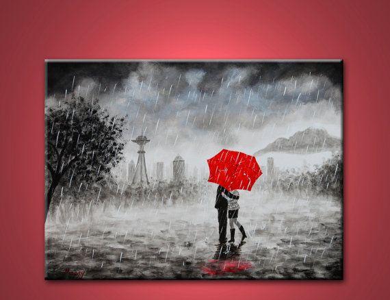 Original Abstract Painting Seattle Love In Rain Red Umbrella 24x18 Great Wedding Giftsumbrella