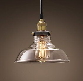 "Ceiling | Restoration Hardware. 20TH C. FACTORY FILAMENT CLEAR GLASS BARN PENDANT $129 Evoking early-20th-century industrial lighting, our reproductions of vintage fixtures retain the classic lines and exposed hardware of the originals. Designed to showcase the warmth of Edison-style filament bulbs. DIMENSIONS Overall: 8"" diam., 6¾""H Cord: 16'L"