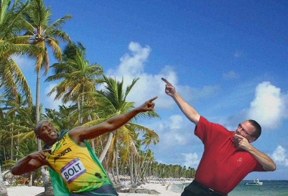 """Gracie hanging out with Usain Bolt? A must-see gallery of Mark Grace's """"vacation""""."""