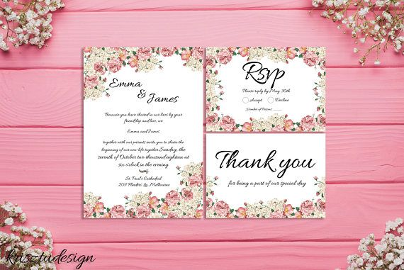 Pink flower invitationWedding invitationRsvp cardThank you