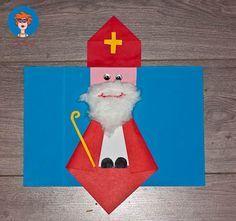 Materialen: Papier: wit, geel, rood en roze Schaar Lijm Stiften Watten Stickers of vormpjes voor de ogen Vouw een rood vierkantje dubbel. Vouw het open en vouw de andere kant dubbel. Vouw het open....