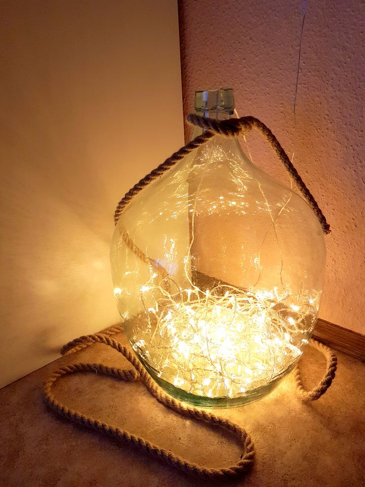 Deko Idee DIY: LED Lichterkette In Großer Flasche Do It Yourself .