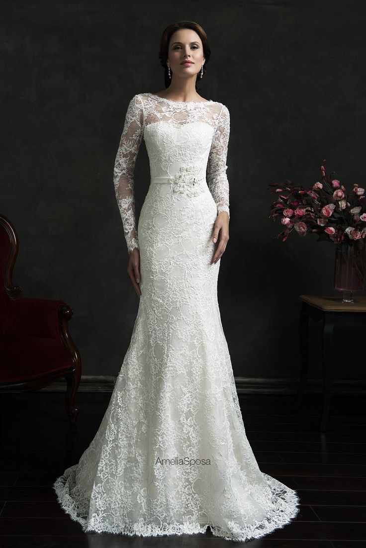 2016 New Amelia Sposa Plus Size Wedding Dresses With Full Lace Jewel Neck Beads Long Sleeve Backless Sheath Bridal Gowns Custom Made