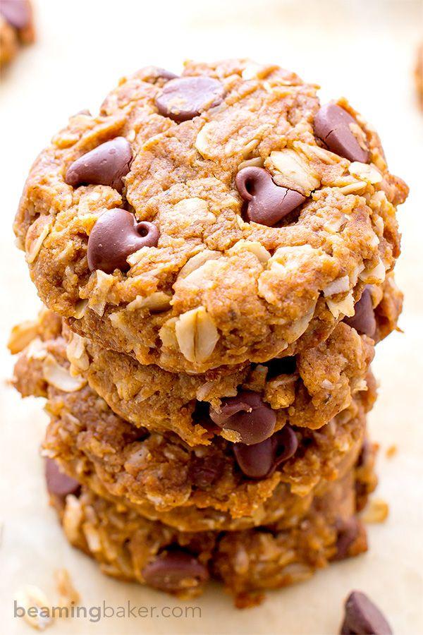 Peanut Butter Chocolate Chip Oatmeal Cookies (Vegan, Gluten Free)