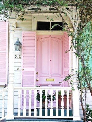 pink door :)Cottages Style, The Doors, Dreams, Pink House, Shabby Chic, Front Doors, Shutters, Front Porches, Pink Doors
