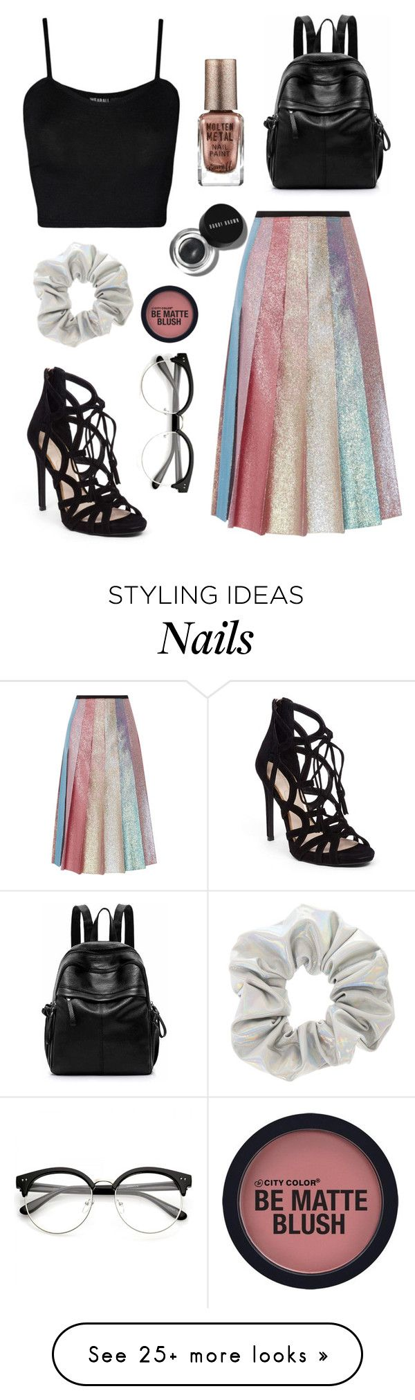 """""""Holoskirt"""" by theatrekid24601 on Polyvore featuring Gucci, WearAll, Jessica Simpson, Barry M and Bobbi Brown Cosmetics"""