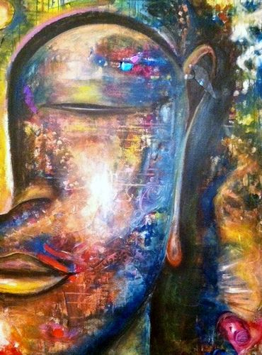 Buddha created by a group. I can lead your corporate or private group through the painting exercise to create original art for your work or home space.