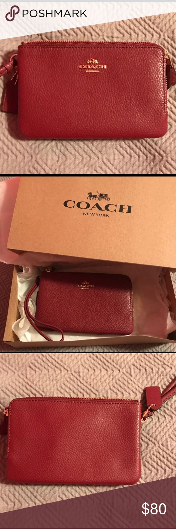 Coach Double Zip Wristlet w/ Gift Receipt and Box Coach Double Zip Wristlet Wine Red with Gold Tone logo.  One compartment features two card slots and an open roomy compartment, second compartment can hold lipstick, changes and other daily essentials.  Price Firm!  Comes with Coach gift receipt, gift box and tissue paper. Coach Bags Clutches & Wristlets
