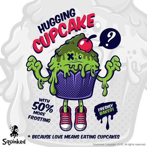 Green Hugging Cupcake... *New Squinked T-shirt Design! *Design nou pentru tricouri de la Squinked!
