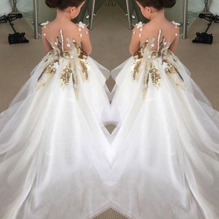 Lindo marfil vestidos niña de lentejuelas apliques niñas desfile del vestido de bola vestidos primera comunión para las muchachas