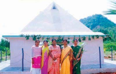 Omkara Pyramid Meditation Center year of construction : 2008 size : 16ft x 16ft (land Pyramid) | capacity : 20 persons cost incurred :  1 Lakh | type of structure : RCC timing : 7AM-7PM, open for public use technical support : Py. Rama Rao, +91 98660 44874 contact : Sitaravamma Vijayalakshmi,  mobile : +91 99129 53944 address : Kothagudem road, near Degree College, Yellandu http://pyramidseverywhere.org/pyramids-directory/telangana/khammam-district