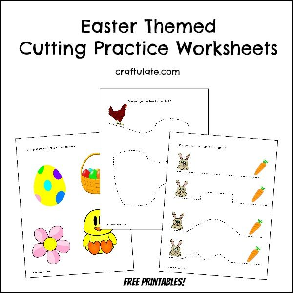 Easter Cutting Practice Worksheets - free printables!