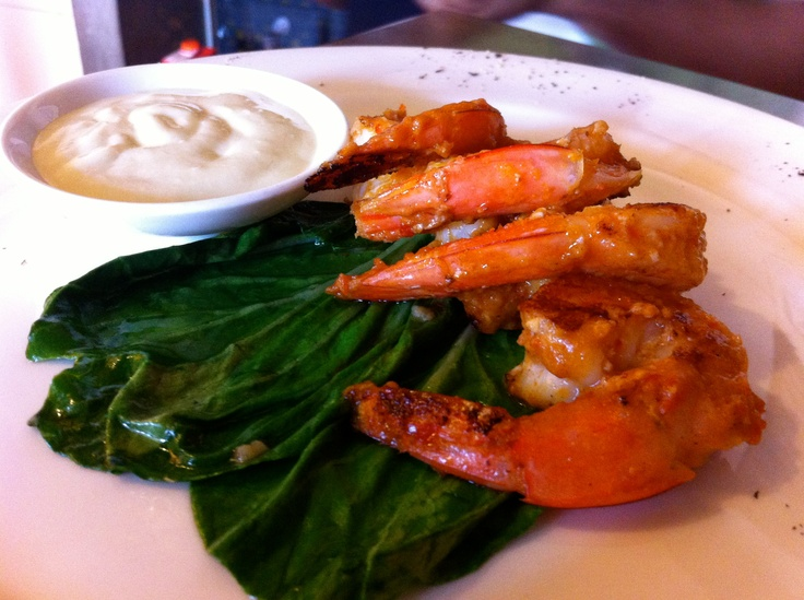 Sambal rubbed Prawns served with Yoghurt – Tahina dip