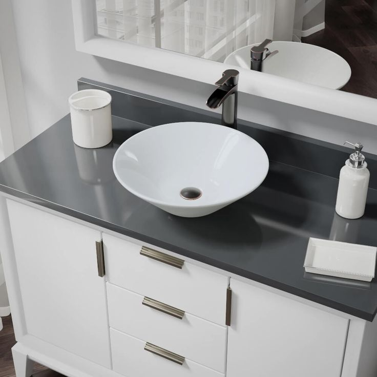 Rene by Elkay R2-5015-W-R9-7007 White Porcelain Vessel Sink with Vessel Faucet and Vessel Pop-Up Drain (
