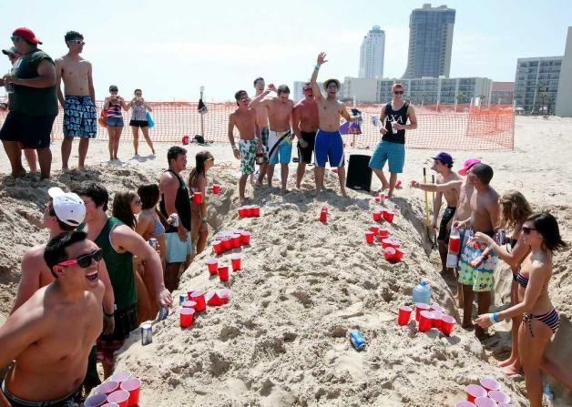 beer pong tournaments on the beach outside the hotel