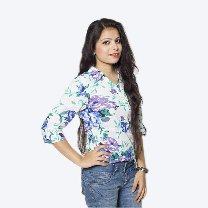 This white short-kurti style cotton top with bright floral print gives you that perfect look you can follow on daily basis. The shirt-style collar, three-quarter folded sleeves give this top a chic look and the pearl buttons on the collar, neckline and sleeves finish it with that pure elegant look.