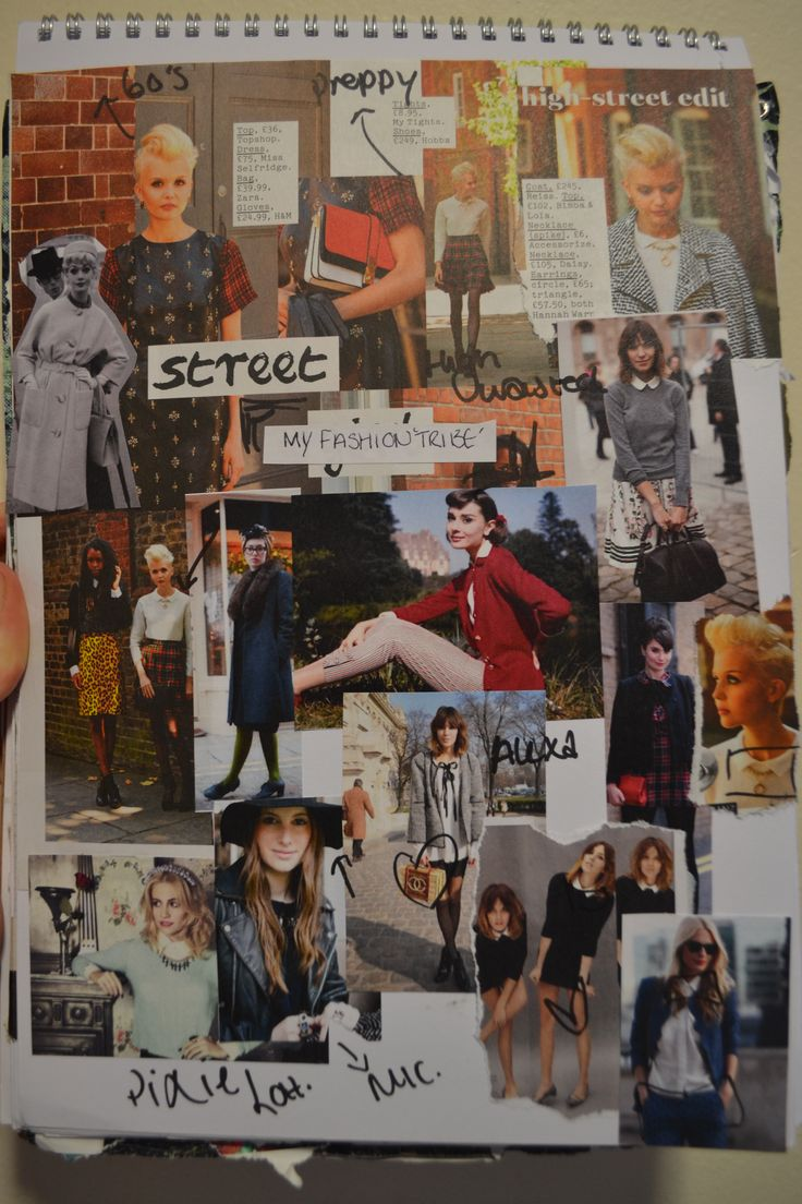 Fashion Sketchbook moodboard page