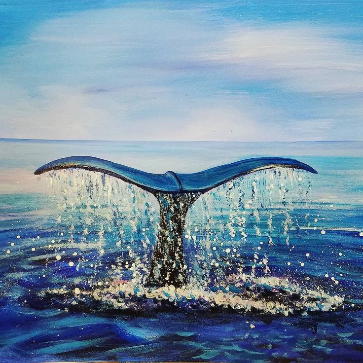 free acrylic tutorial whale tail ocean seascape painting by angela anderson on youtube ocean - Free Painting Pictures