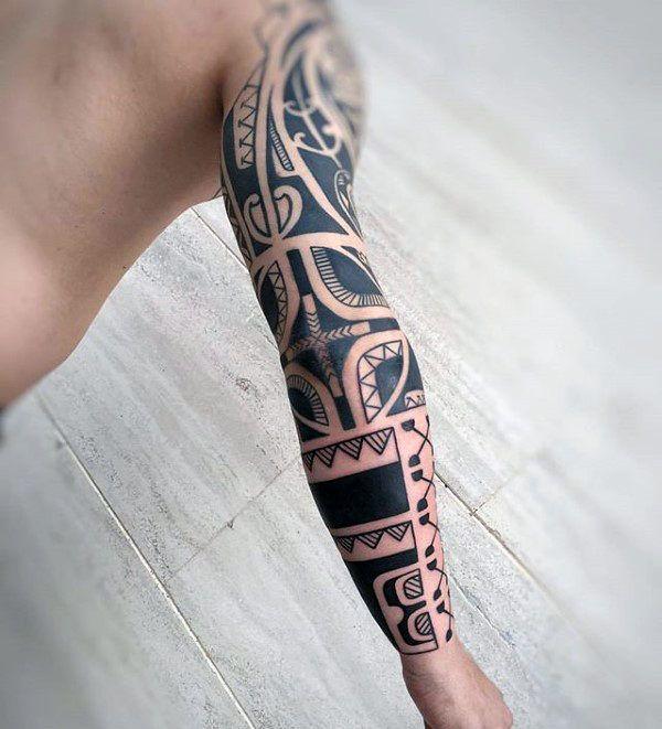 Hawaiian Sleeve And Forearm Male Tribal Tattoos