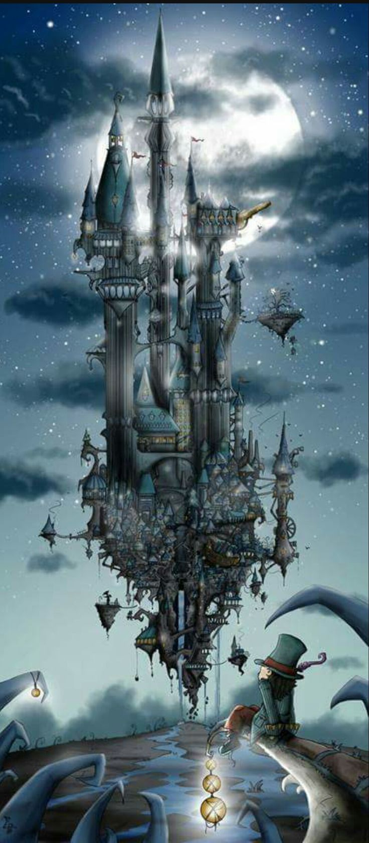 A truly whimsical and wonderful example of floating #castles. I think this is becoming it's own genre. Reminds me of Brian Froud's work.  #fantasyart