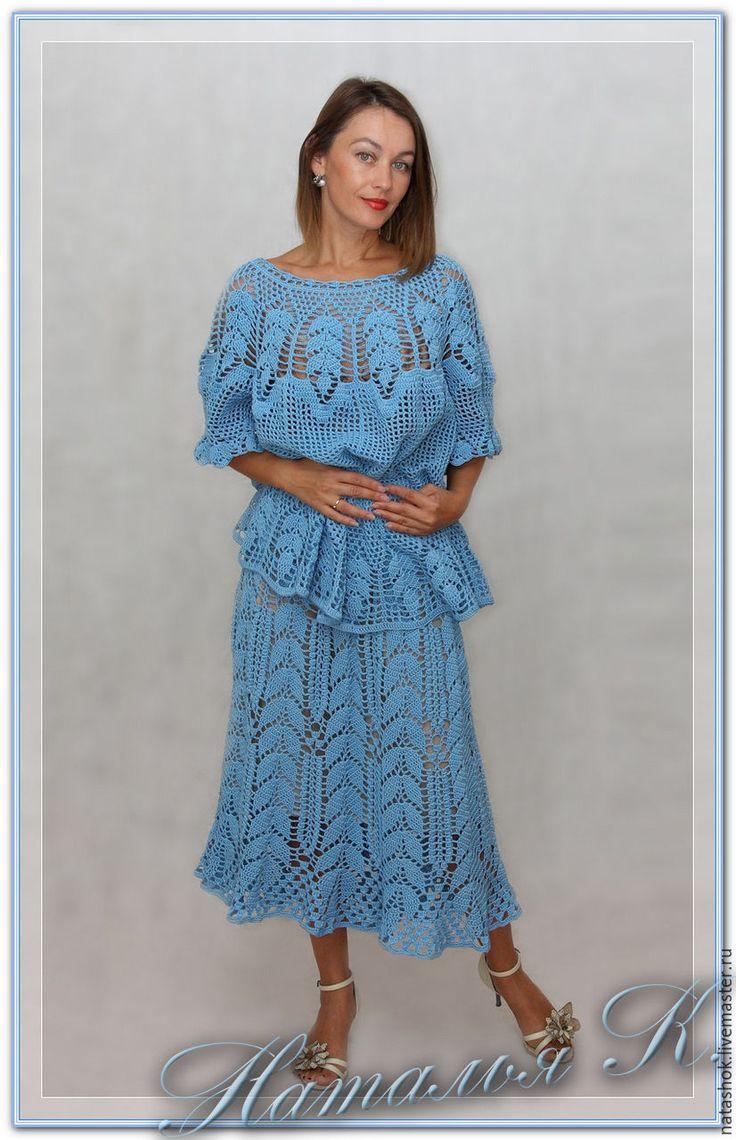 Купить Летний костюм - голубой, костюм женский, Костюм вязаный, Костюм летний, кружево