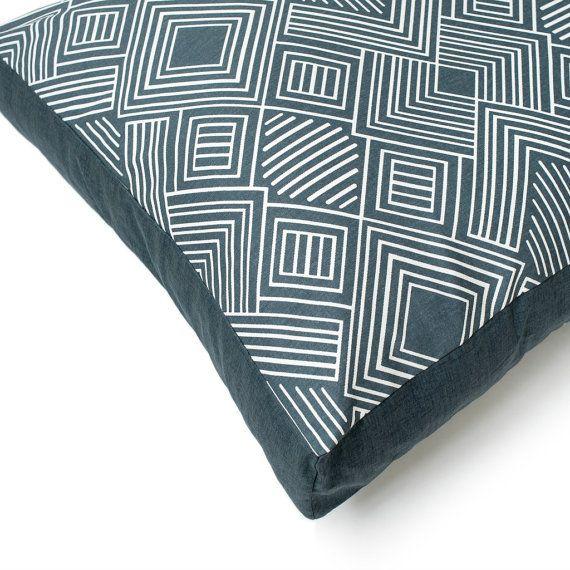 Waterproof Gray Dog Bed. Big southwest dog bed.  Washable designer pet bed. Large dog bed. Durable dog bed. Phoenix Charlie Cushion