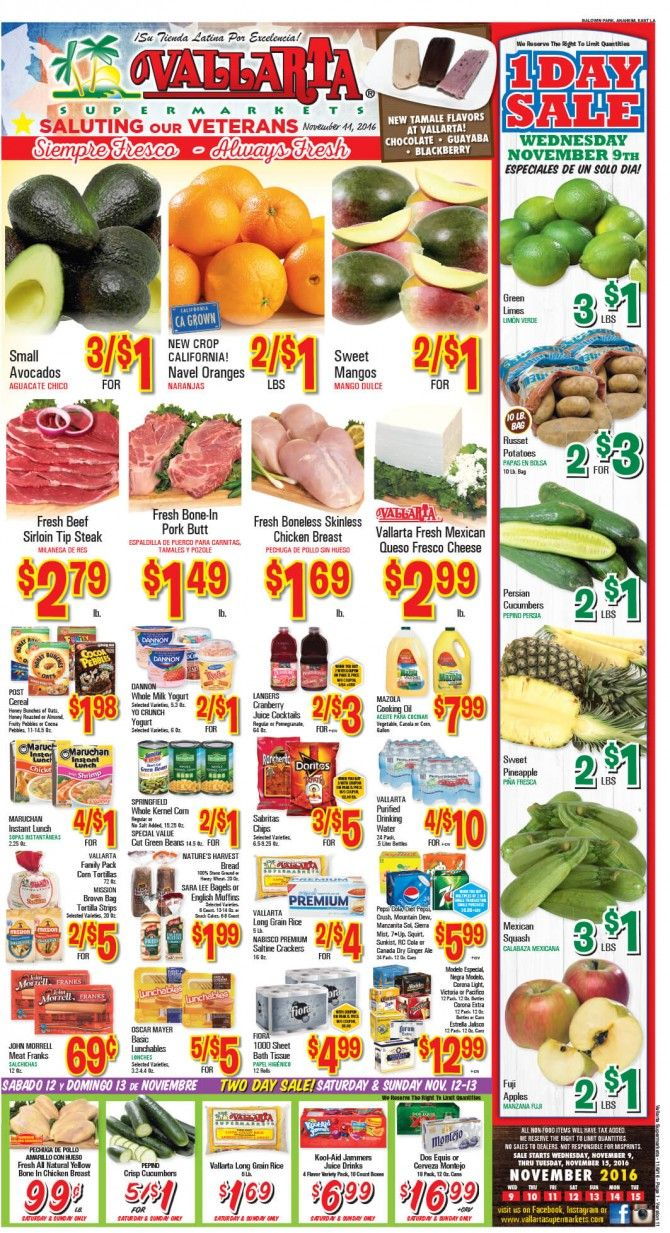 Vallarta Weekly Ad Flyer November 9 - 15, 2016 - http://www.olcatalog.com/grocery/vallarta-weekly-ad-fleyer.html