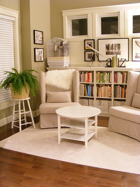 """""""built in"""" bookshelf using ikea billy bookcases and crown molding I would love this on each side of the fireplace in livingroom!  Do this floor to ceiling!"""