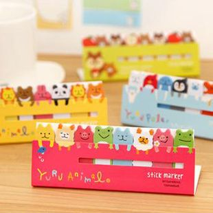 Free Shipping Lovely Stationery Cartoon Animal Stickers Cute Memo pad Handy Sticky Note 12.5*5cm $7.40