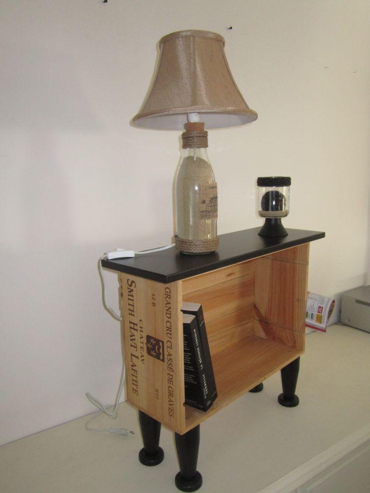 je d tourne les caisses vin en bois en meuble de chevet porte revues handyman pinterest. Black Bedroom Furniture Sets. Home Design Ideas