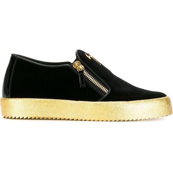 Giuseppe Zanotti Design Adam slip-on sneakers (€605) ❤ liked on Polyvore featuring men's fashion, men's shoes, men's sneakers, black, giuseppe zanotti mens shoes, mens black leather shoes, mens slip on sneakers, mens black slip on sneakers and mens black shoes