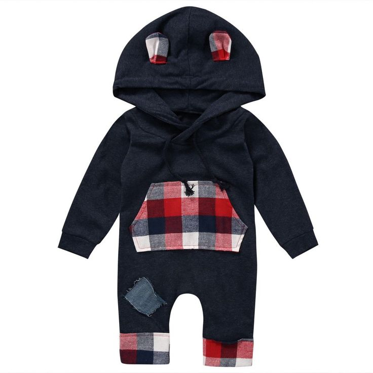 - Baby Boy - Romper - Black - Plaid - Long Sleeve - Hooded Free Shipping! Please Allow 2-4 weeks for delivery.