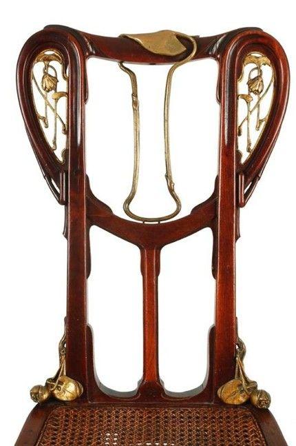 Art Nouveau - Dossier d'une Chaise en Acajou mouluré et Bronze doré - 1905 - Louis Majorelle (1859-1926)