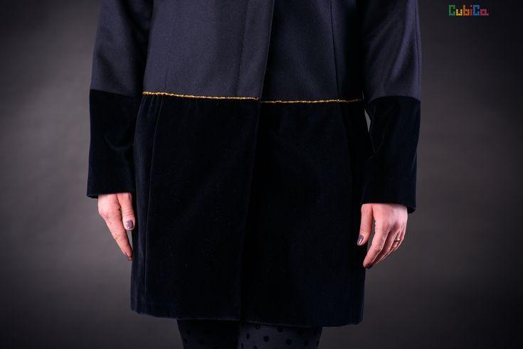 Alena wool & velvet coat murano collar & waist details CubiCa Peculiar details