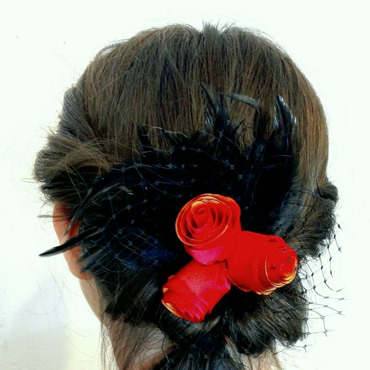 Roses and Feathers Hair Accessory, Hair Flowers, Roses and Netting Hair Clip by AnaManoleAtelier on Etsy