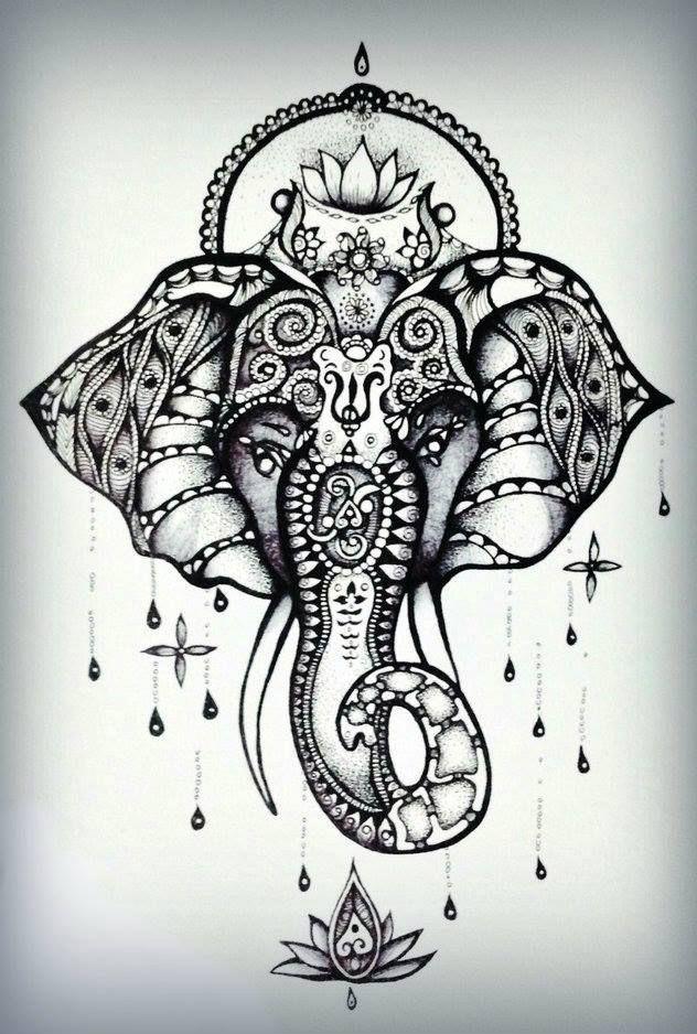 ganesh head tattoo outline - photo #46