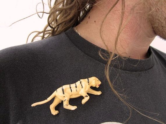 Plastic Tiger Brooch OOAK by GingerLab on Etsy, €8.00