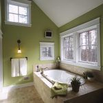 Green paint colors bathroom traditional with green walls towel bar