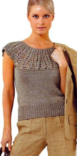 Beautiful knit & crochet woman's top. I do not knit. What I like is the yoke which is crocheted. Continue the top in crochet ore use the yoke to top a fabric dress or sleeping gown.